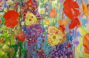 Clouded Yelow butterfly, a detail from 120cm x 160cm  oil painting Clouded Yellow 2013
